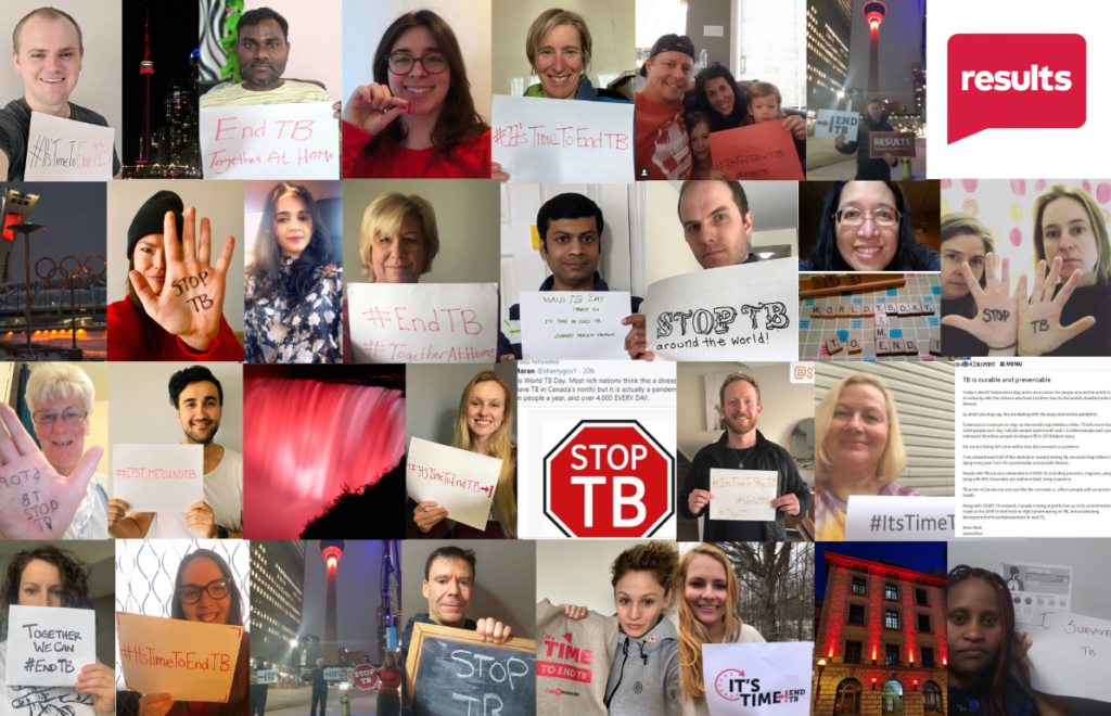 Collage of people holding signs in support of ending tuberculosis.